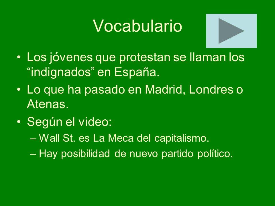 Vocabulario Los jóvenes que protestan se llaman los indignados en España. Lo que ha pasado en Madrid, Londres o Atenas.