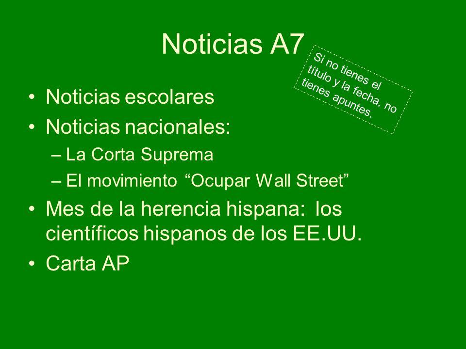 Noticias A7 Noticias escolares Noticias nacionales: