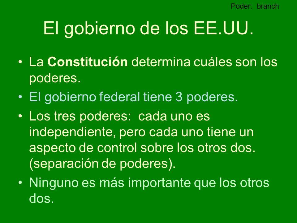 Poder: branch El gobierno de los EE.UU. La Constitución determina cuáles son los poderes. El gobierno federal tiene 3 poderes.