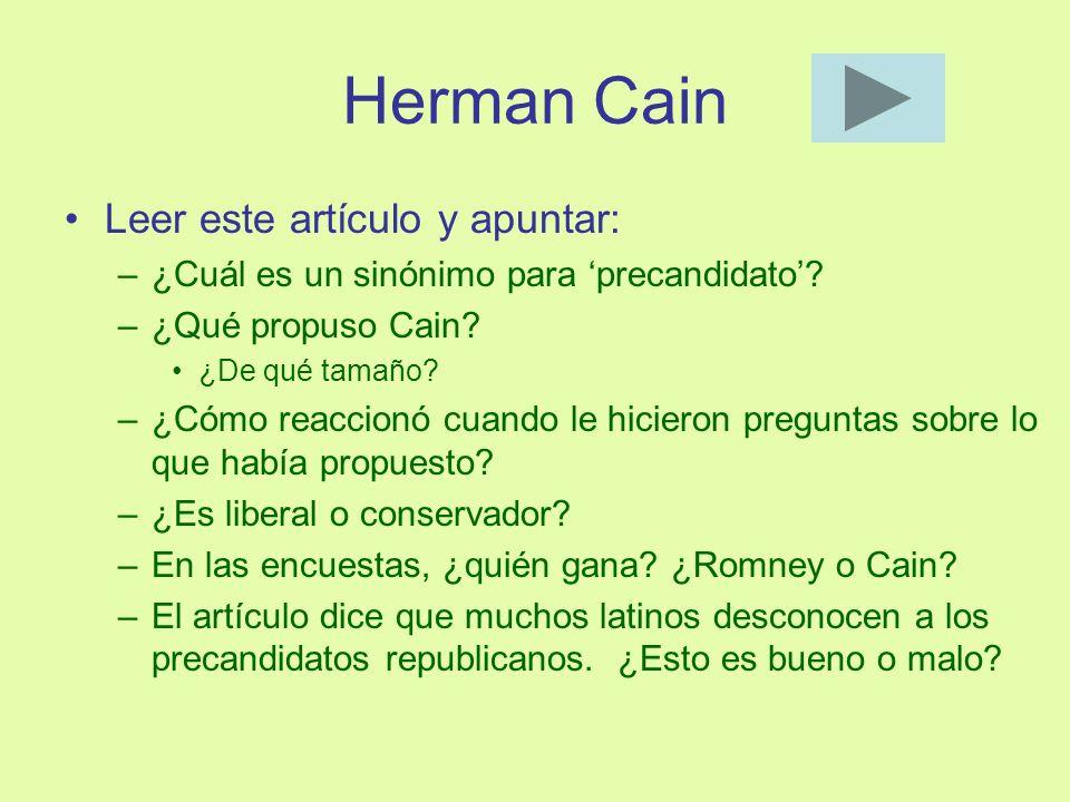 Herman Cain Leer este artículo y apuntar: