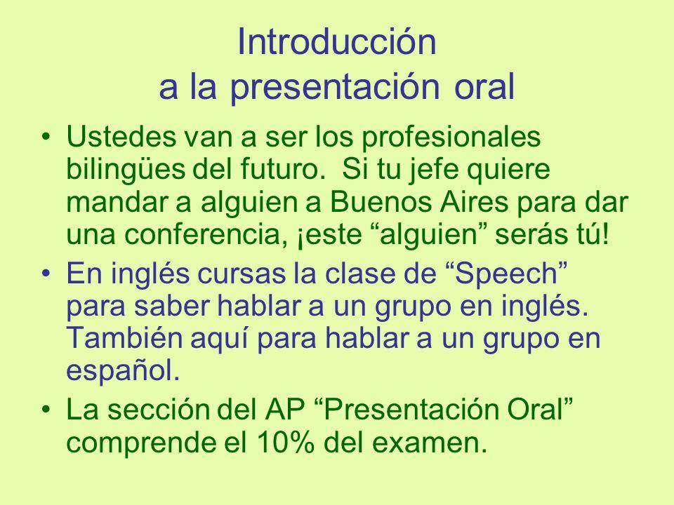 Introducción a la presentación oral