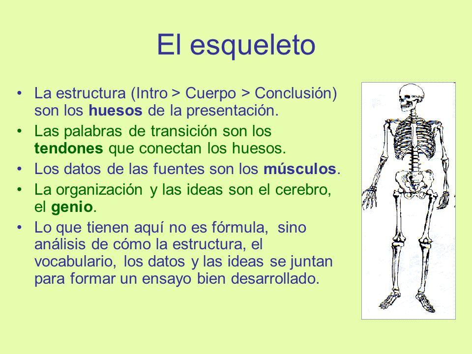 El esqueletoLa estructura (Intro > Cuerpo > Conclusión) son los huesos de la presentación.