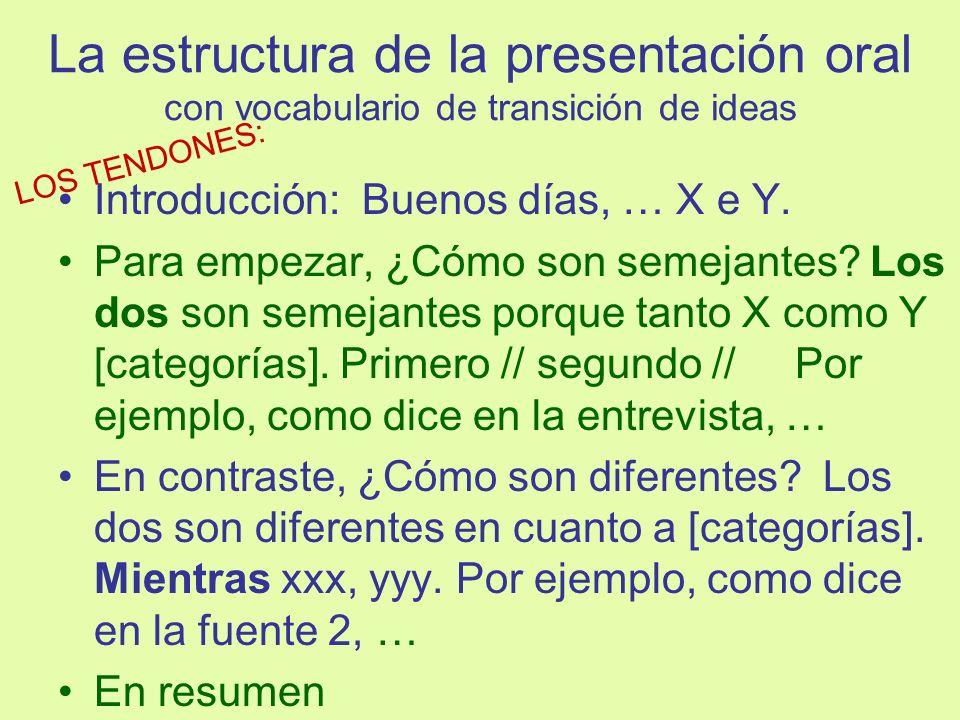 La estructura de la presentación oral con vocabulario de transición de ideas