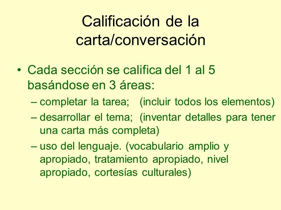 Calificación de la carta/conversación