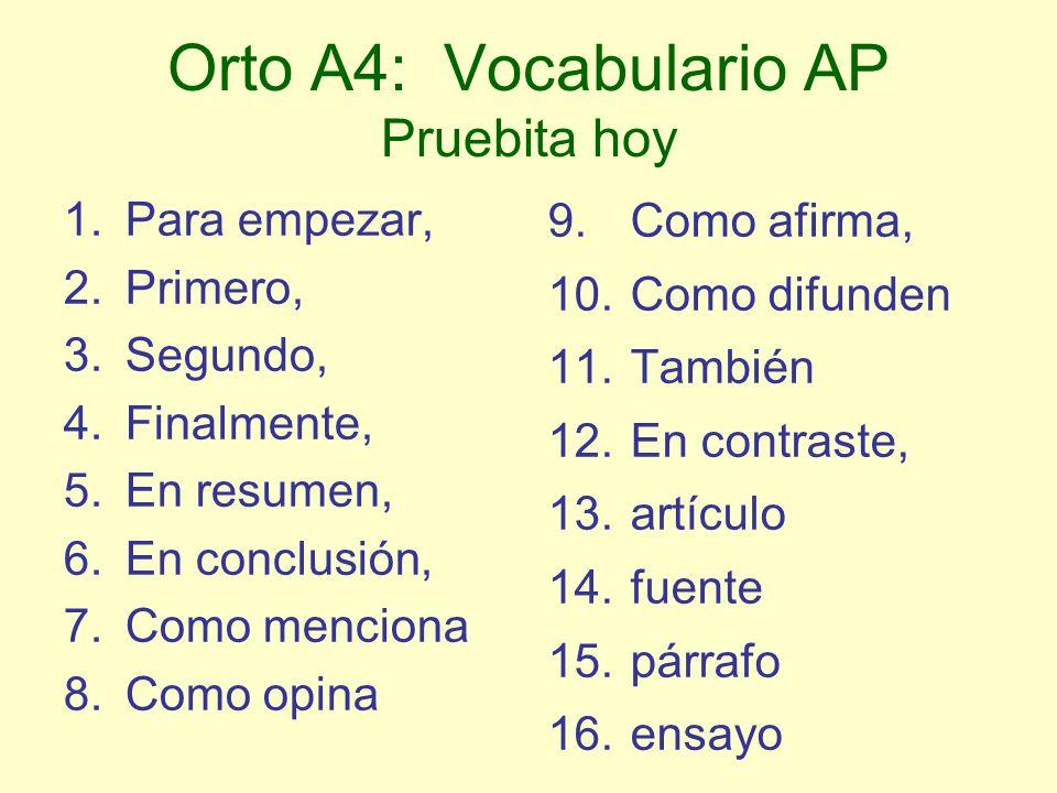 Orto A4: Vocabulario AP Pruebita hoy