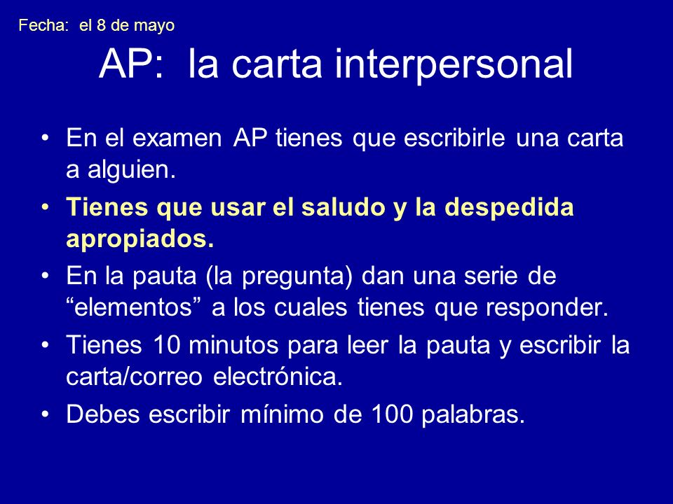 AP: la carta interpersonal