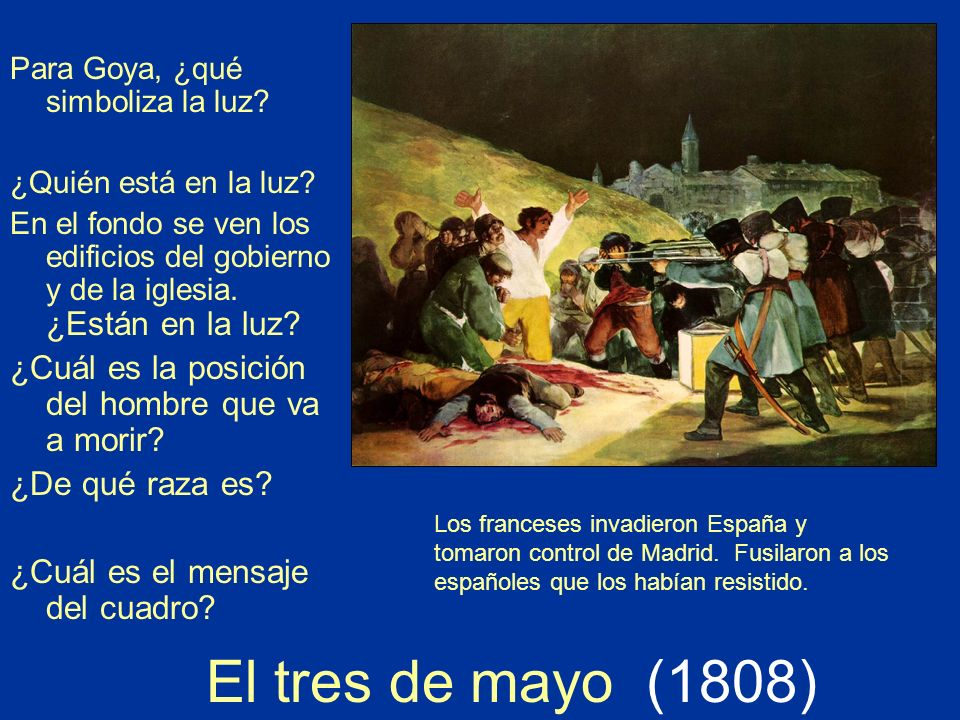 El tres de mayo (1808) ¿Cuál es la posición del hombre que va a morir
