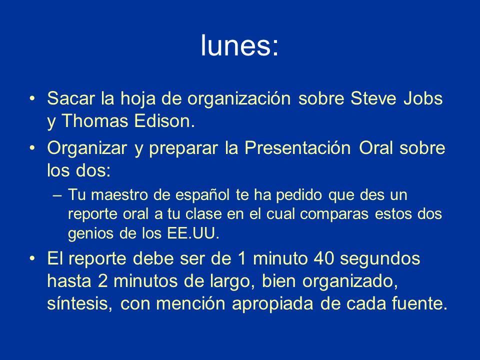 lunes: Sacar la hoja de organización sobre Steve Jobs y Thomas Edison.