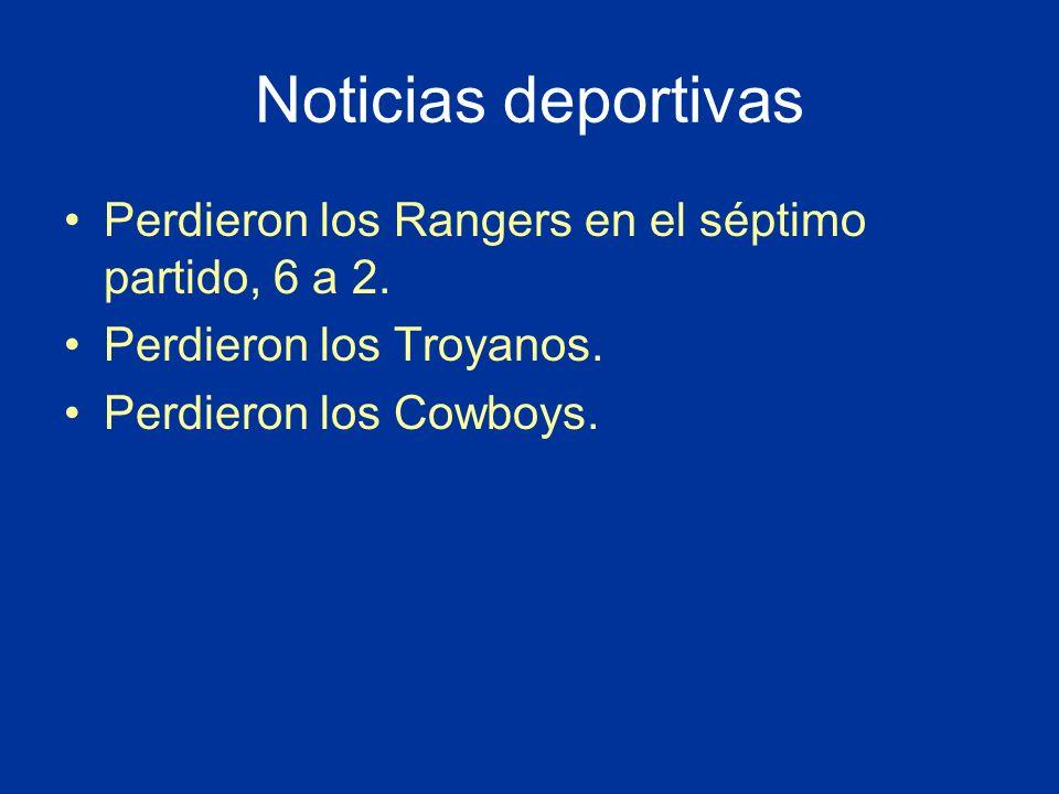 Noticias deportivas Perdieron los Rangers en el séptimo partido, 6 a 2.