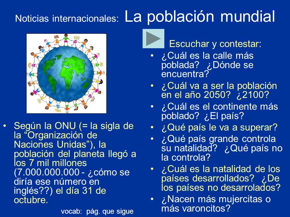 Noticias internacionales: La población mundial
