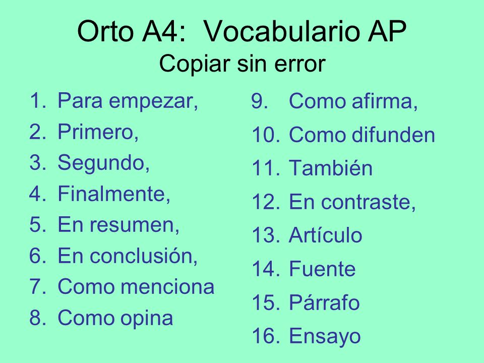 Orto A4: Vocabulario AP Copiar sin error