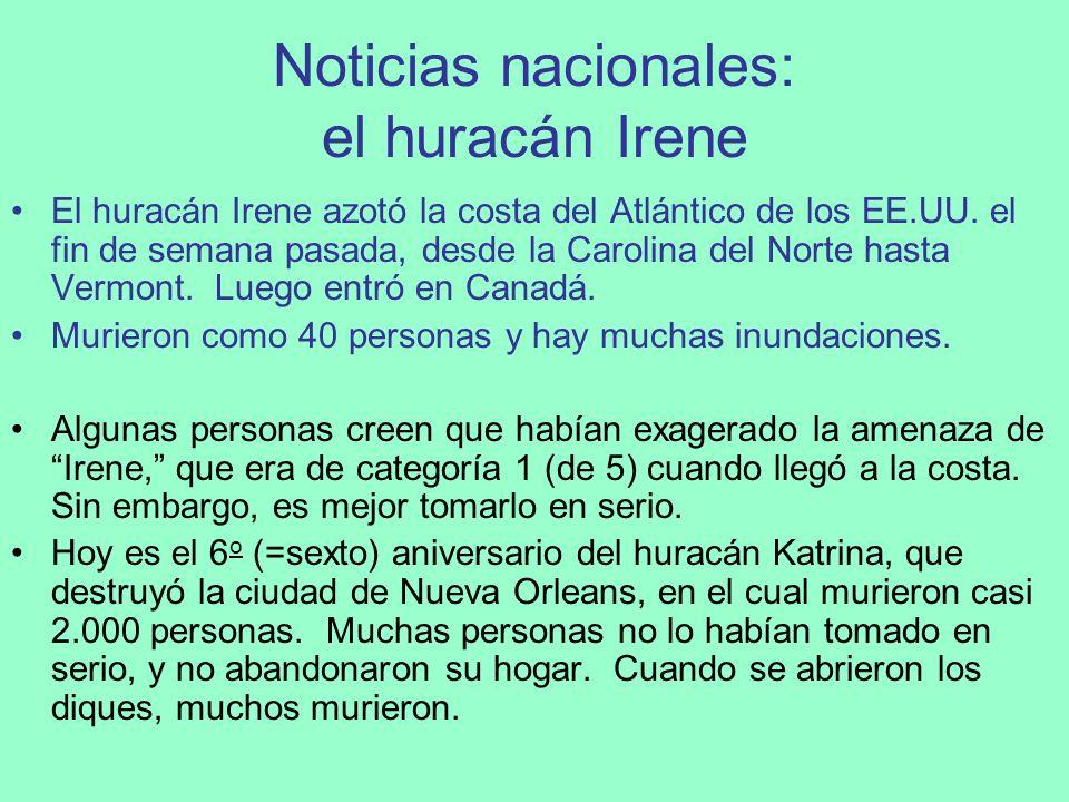 Noticias nacionales: el huracán Irene
