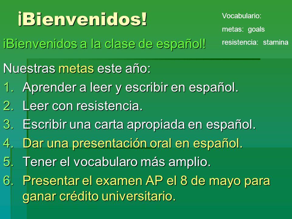 ¡Bienvenidos! iBienvenidos a la clase de español!