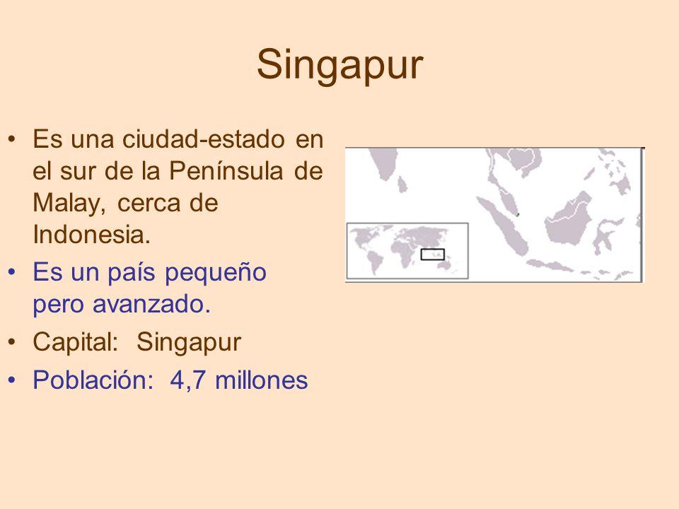 Singapur Es una ciudad-estado en el sur de la Península de Malay, cerca de Indonesia. Es un país pequeño pero avanzado.