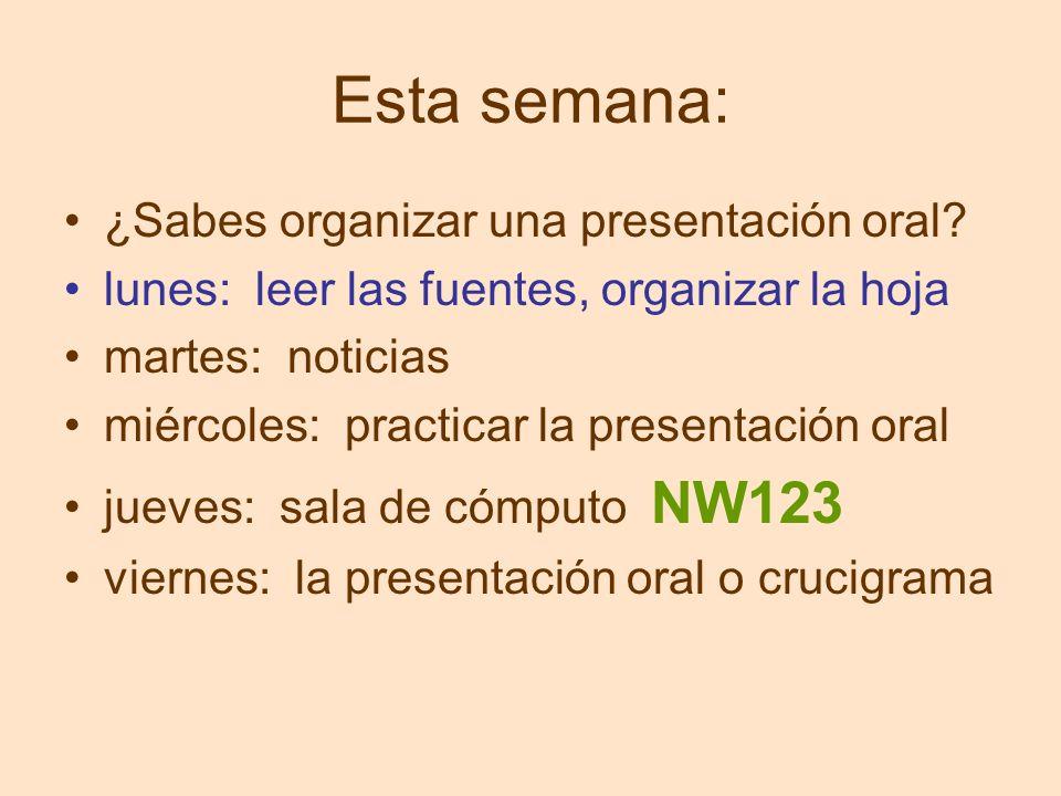 Esta semana: ¿Sabes organizar una presentación oral