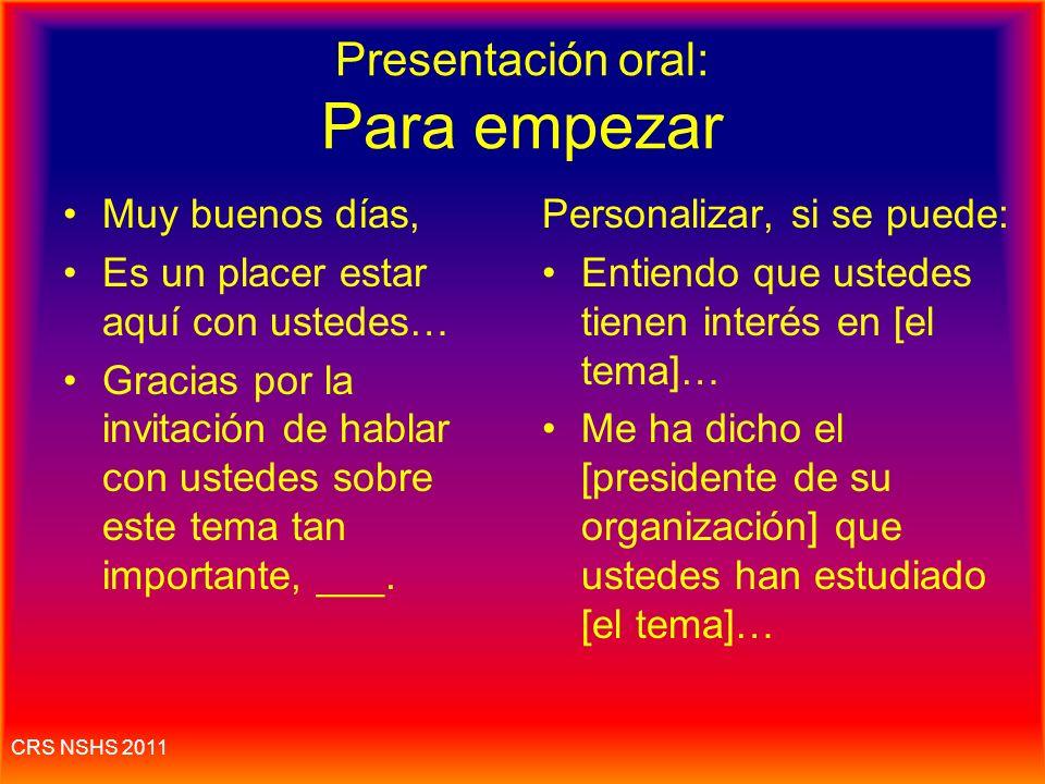 Presentación oral: Para empezar