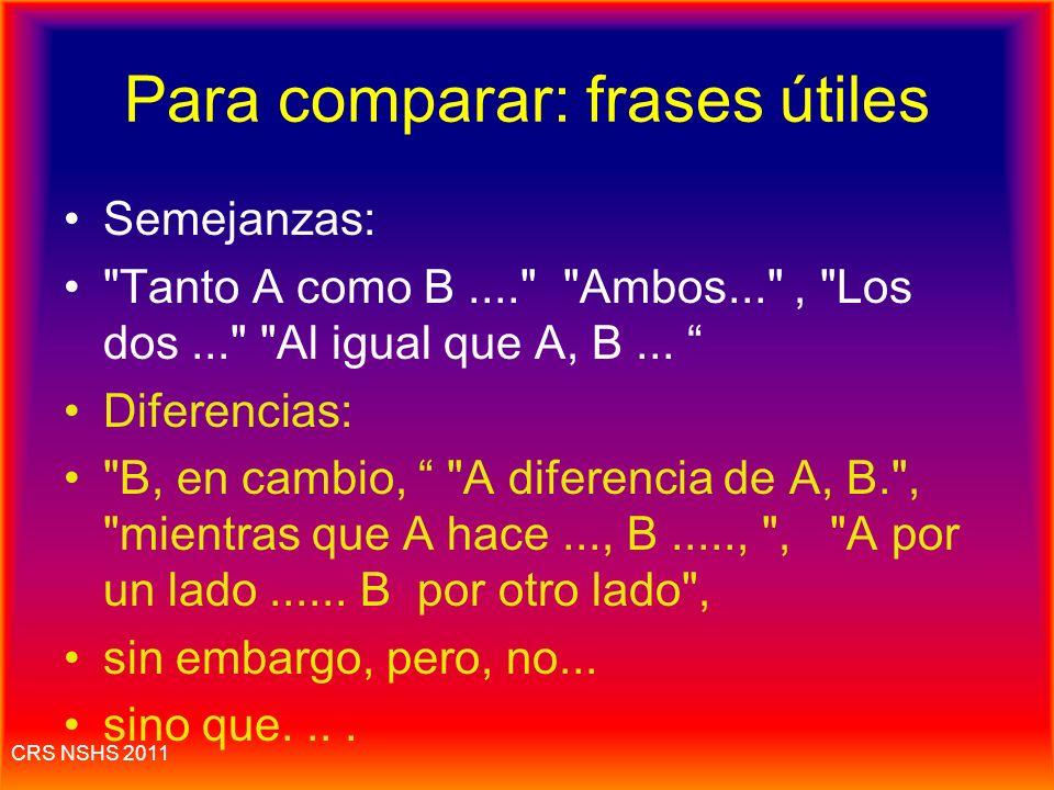 Para comparar: frases útiles