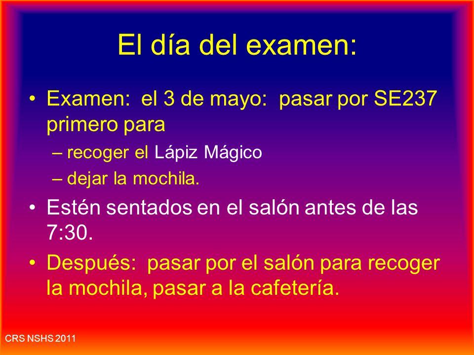 El día del examen: Examen: el 3 de mayo: pasar por SE237 primero para