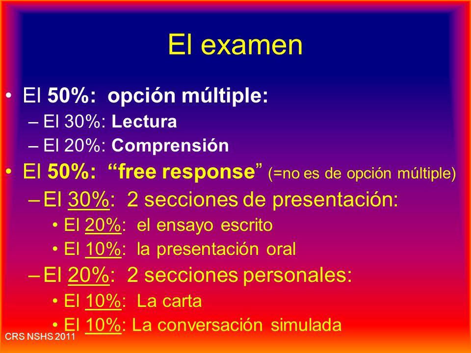 El examen El 50%: opción múltiple: