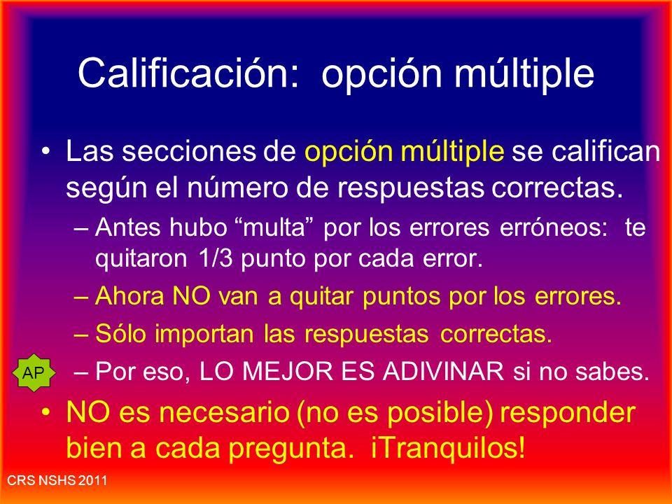 Calificación: opción múltiple