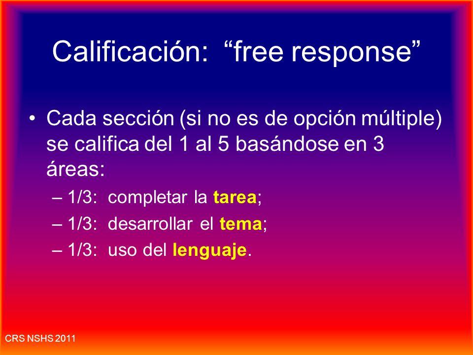 Calificación: free response
