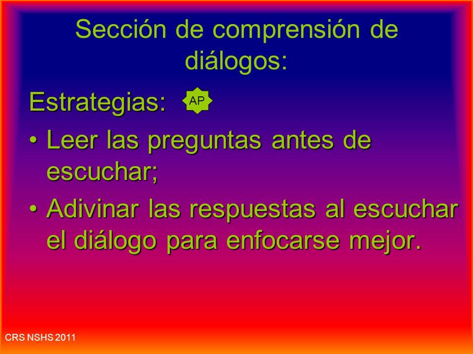 Sección de comprensión de diálogos: