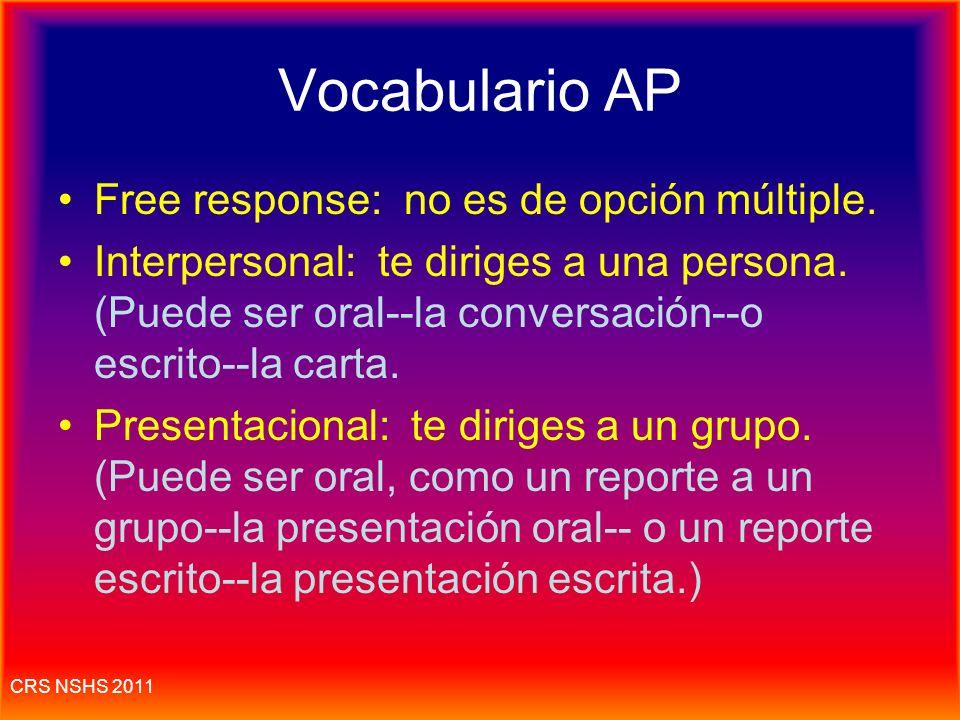 Vocabulario AP Free response: no es de opción múltiple.