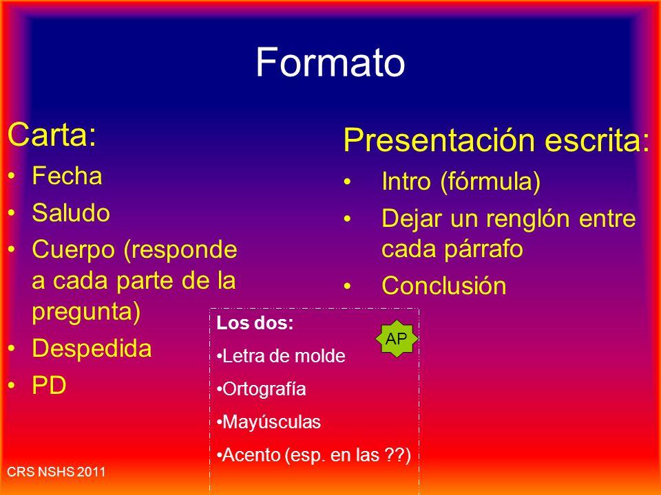 Formato Carta: Presentación escrita: Fecha Intro (fórmula) Saludo