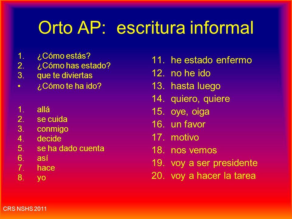 Orto AP: escritura informal