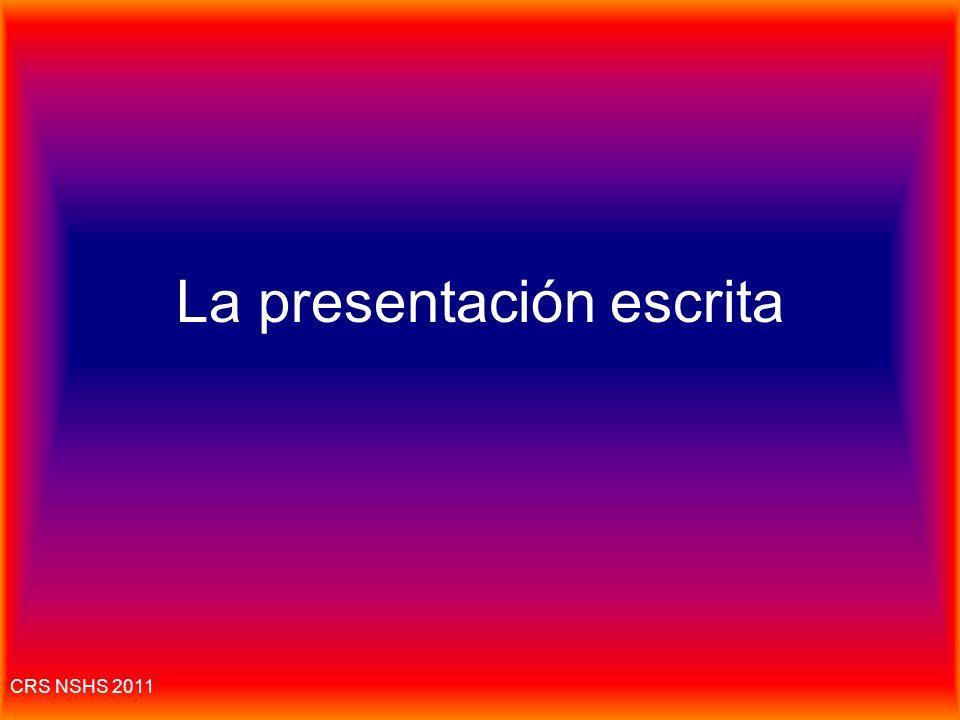 La presentación escrita