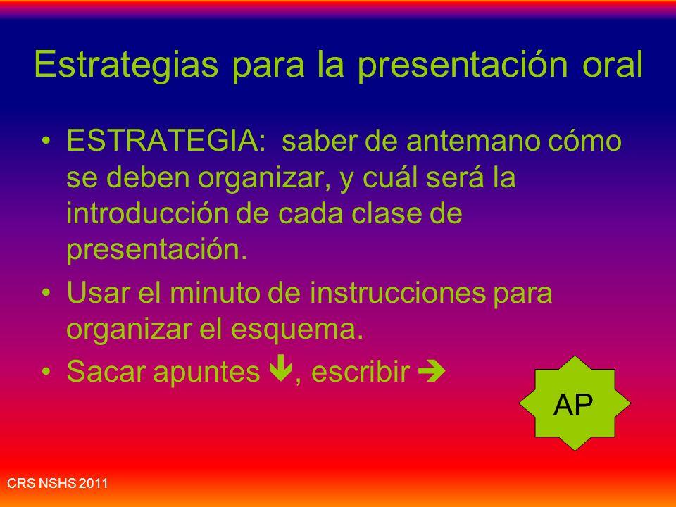 Estrategias para la presentación oral