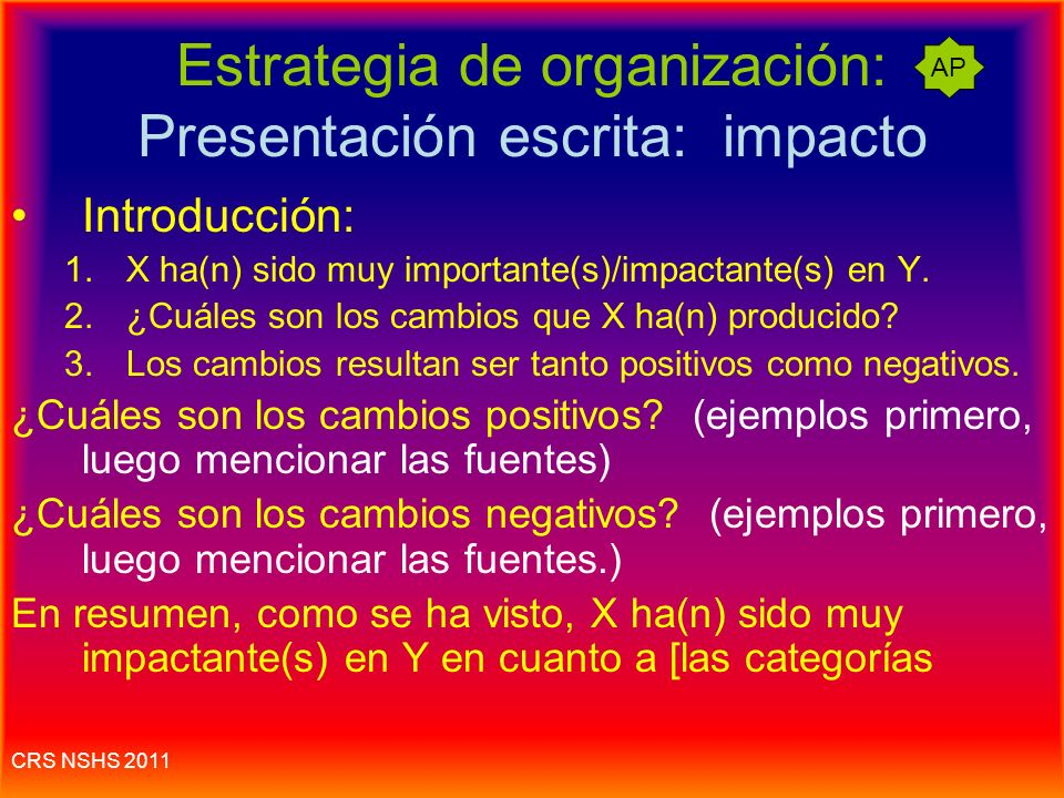 Estrategia de organización: Presentación escrita: impacto