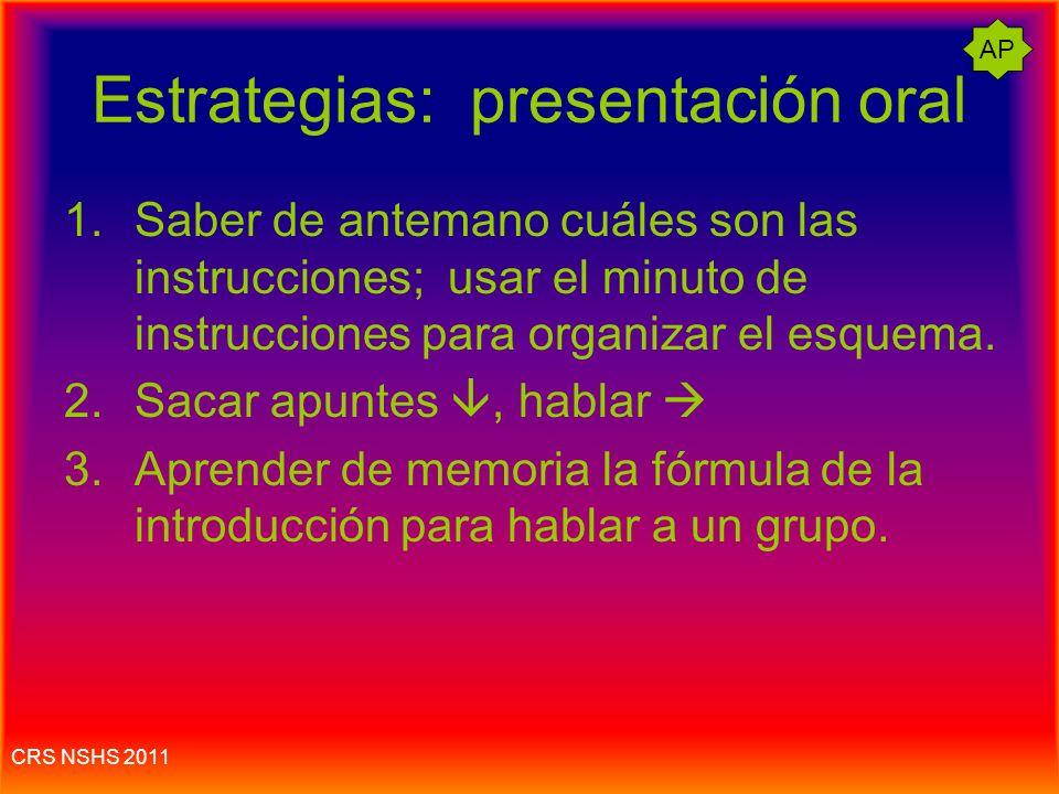 Estrategias: presentación oral