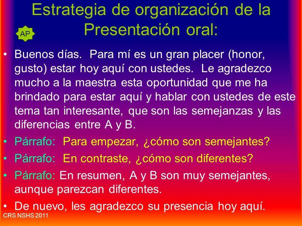 Estrategia de organización de la Presentación oral: