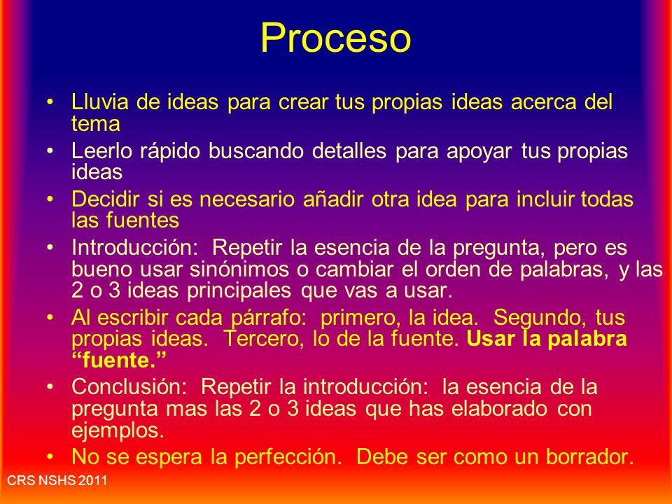 Proceso Lluvia de ideas para crear tus propias ideas acerca del tema