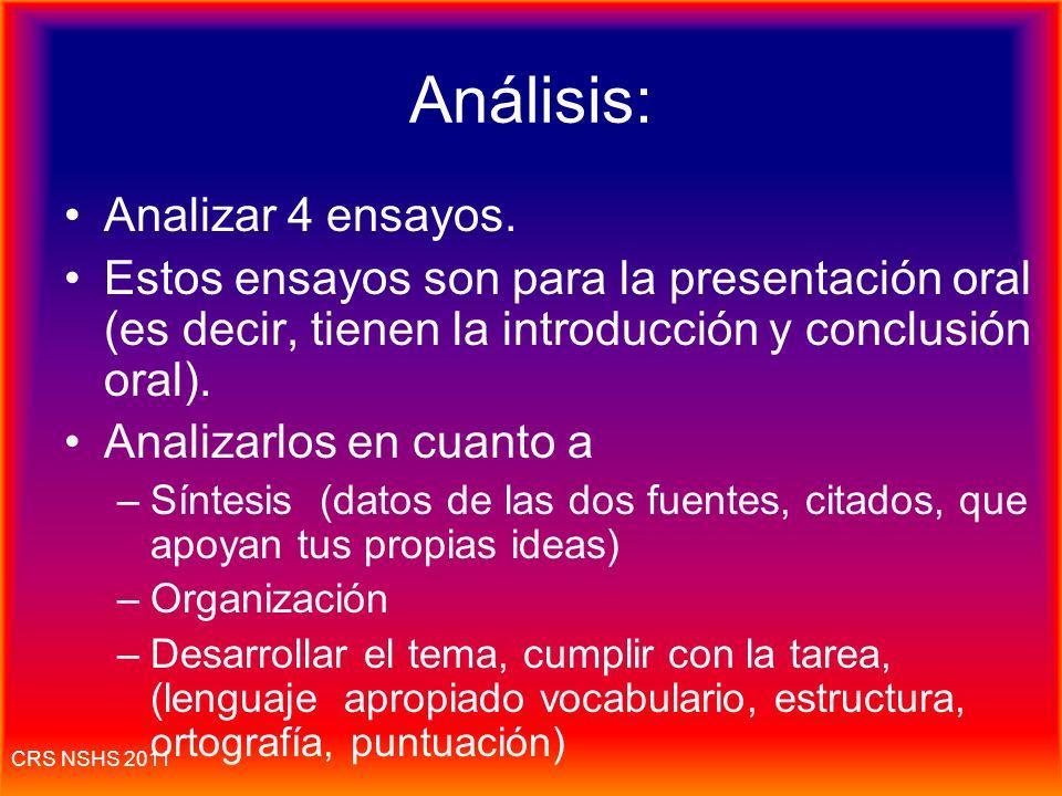 Análisis: Analizar 4 ensayos.