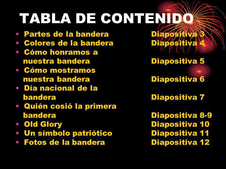 TABLA DE CONTENIDO Partes de la bandera Diapositiva 3