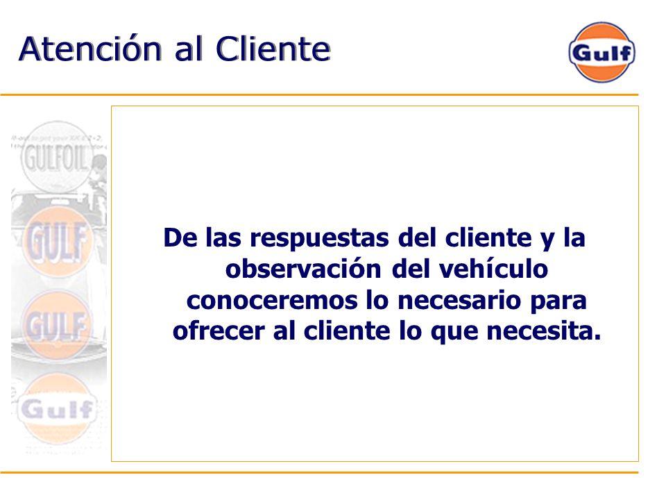 Atención al Cliente De las respuestas del cliente y la observación del vehículo conoceremos lo necesario para ofrecer al cliente lo que necesita.