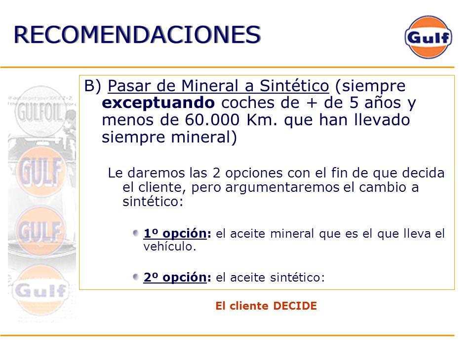 RECOMENDACIONES B) Pasar de Mineral a Sintético (siempre exceptuando coches de + de 5 años y menos de 60.000 Km. que han llevado siempre mineral)