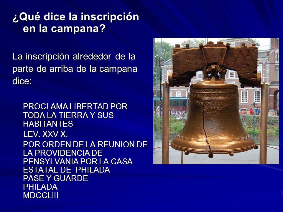 ¿Qué dice la inscripción en la campana
