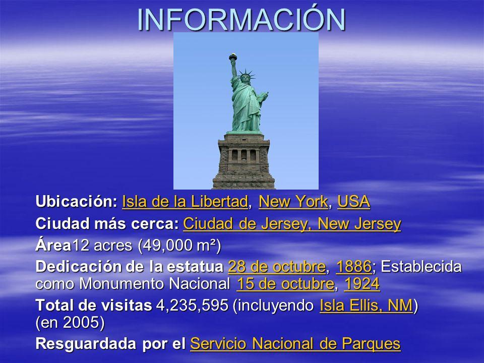 INFORMACIÓN Ubicación: Isla de la Libertad, New York, USA