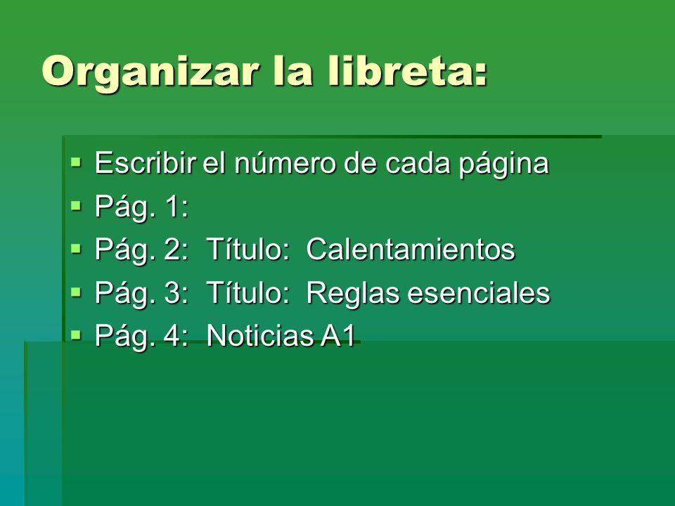 Organizar la libreta: Escribir el número de cada página Pág. 1:
