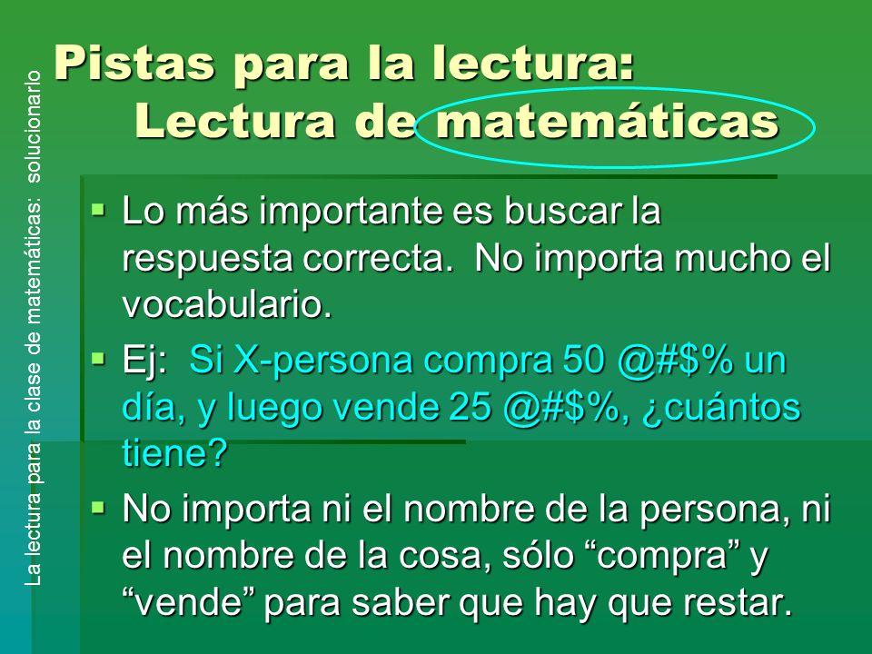 Pistas para la lectura: Lectura de matemáticas
