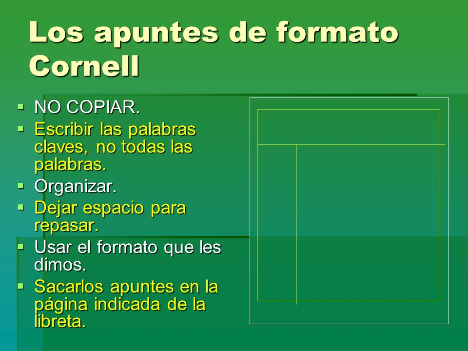 Los apuntes de formato Cornell