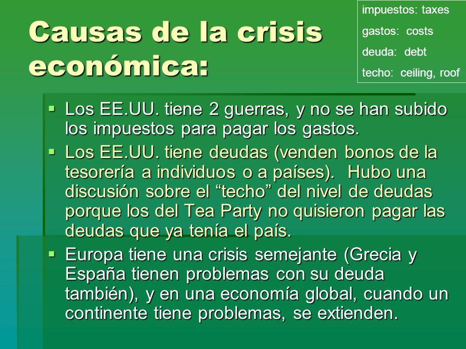 Causas de la crisis económica: