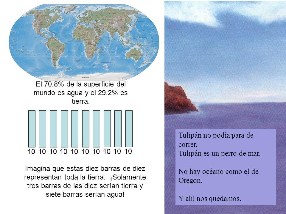 El 70.8% de la superficie del mundo es agua y el 29.2% es tierra.