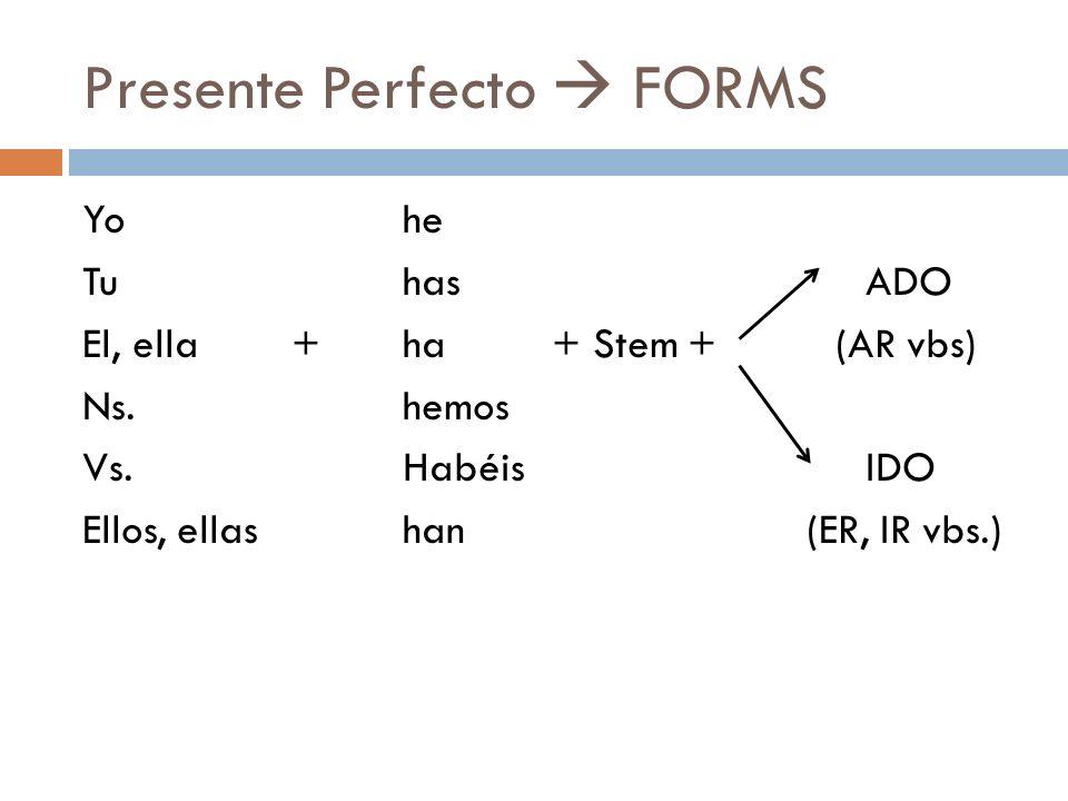 Presente Perfecto  FORMS