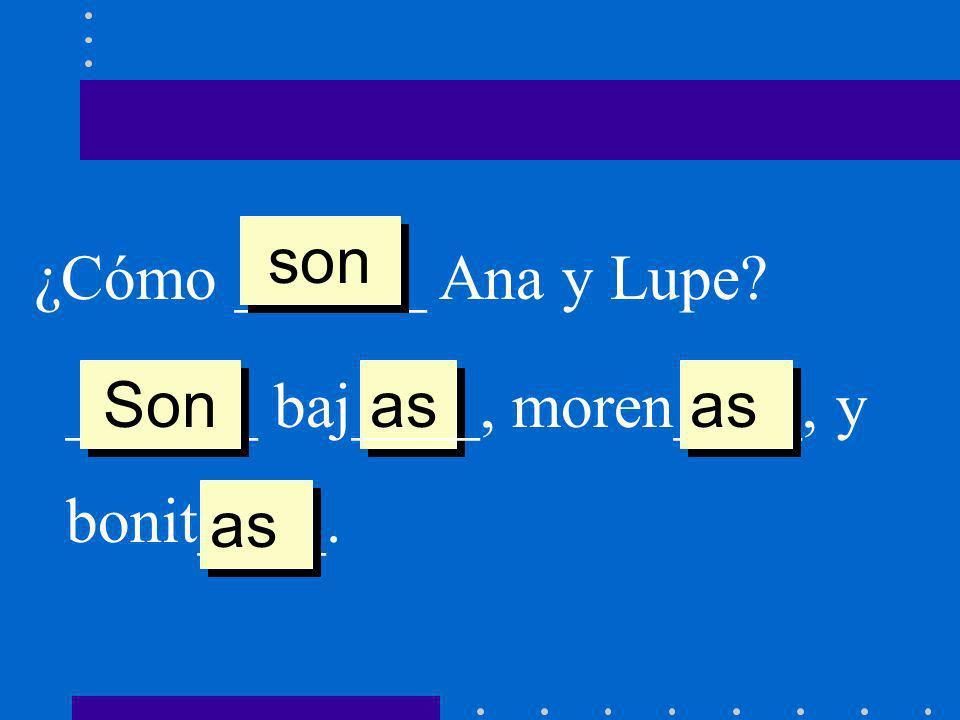 son ¿Cómo ______ Ana y Lupe ______ baj____, moren____, y bonit____. Son as as as