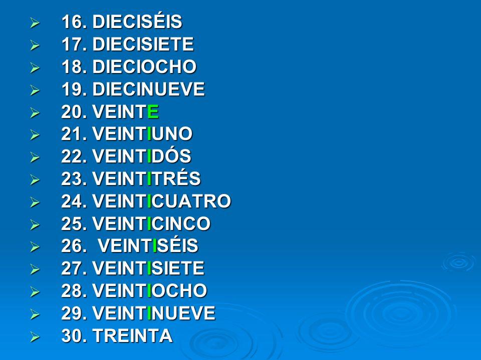 16. DIECISÉIS 17. DIECISIETE. 18. DIECIOCHO. 19. DIECINUEVE. 20. VEINTE. 21. VEINTIUNO. 22. VEINTIDÓS.