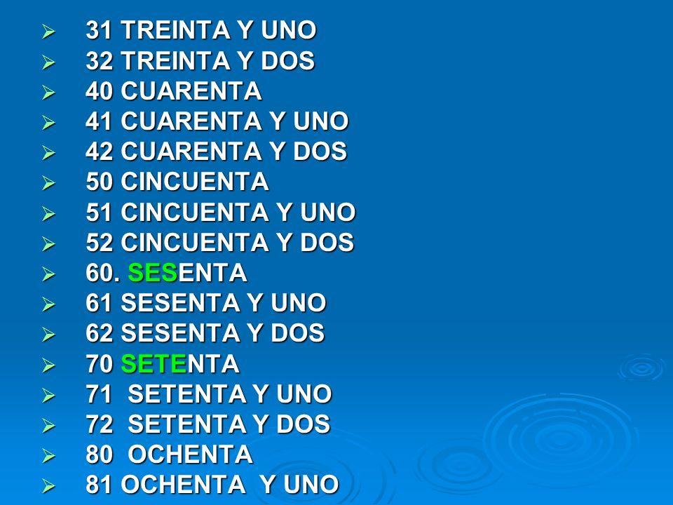 31 TREINTA Y UNO 32 TREINTA Y DOS. 40 CUARENTA. 41 CUARENTA Y UNO. 42 CUARENTA Y DOS. 50 CINCUENTA.